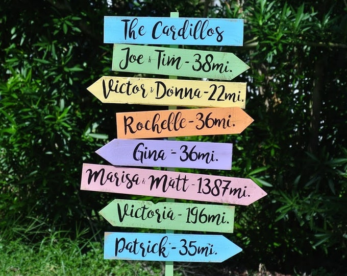 Family Name Sign Gift for Dad, Garden Yard Decor Wooden Directional sign post, Outdoor Mileage signage, Unique Custom Housewarming gift