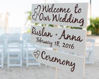 Ivory Welcome Wedding Sign, Beach Wedding Decor, Rustic Chic Wedding Beach Sign, Directional Arrow Sign