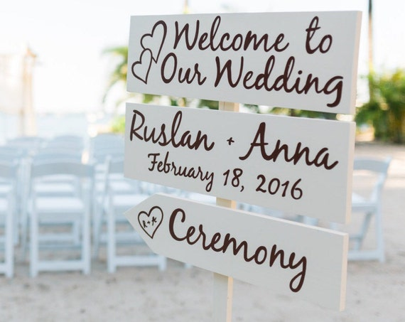 Ivory Welcome Wedding Sign, Romantic Beach Wedding Decor, Rustic Chic Wedding Beach Sign, Directional Arrow Sign