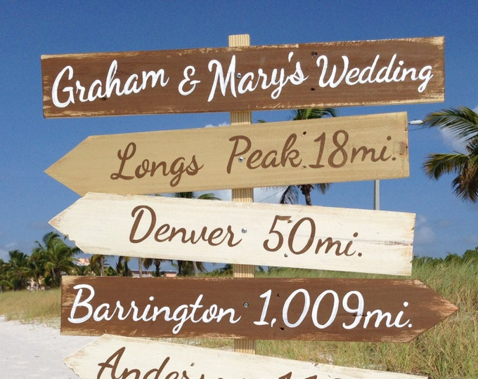 Gift for couples, Welcome Wedding Beach Directional Sign Wood, Rustic Decor. Family destination mileage sign. Wood yard decor