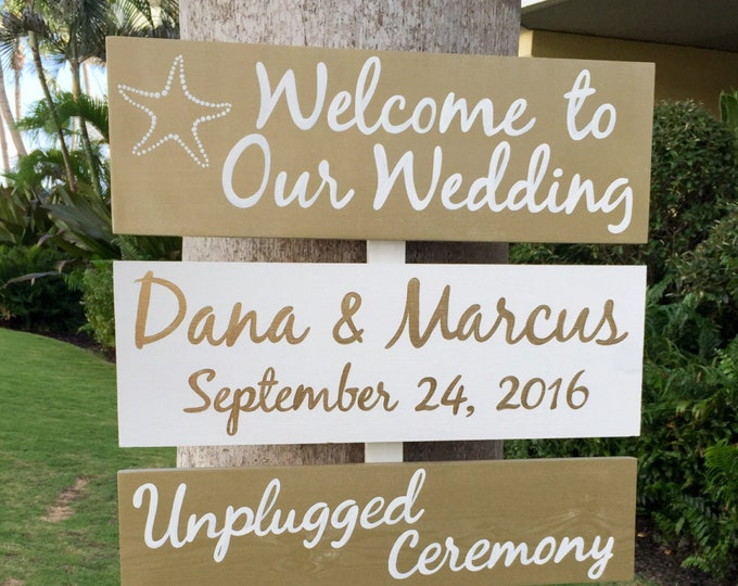 Wedding welcome sign gold. Beach wedding decor, Directional sign, Destination wedding sign gift for couple