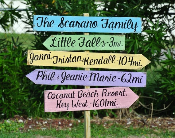 Holiday gift idea, Rustic Family Name Directional Destination Wood Sign, Father's Day, Garden Yard Decor, Family Gift Idea for New Home