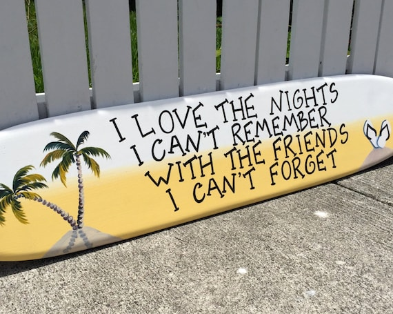 Surfboard wall art wood sign for home bar. Beach house decor.