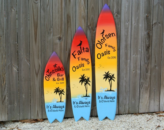 Tiki bar Christmas gift for Family oasis sign wood surfboard. Beach house decor Its 5 O'clock somewhere.