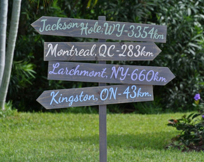 Rustic Wooden Garden Decor, Wood Beach Directional Sign, Decoration Mileage Sign post, Unique housewarming gift