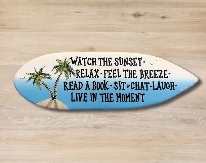 Beach House wood surfboard decor. Friends gift. Tropical wall art sign.