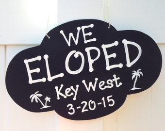 Valentines Day Gift We Eloped Rustic Wedding Sign, Palm Tree Beach Wedding Decor