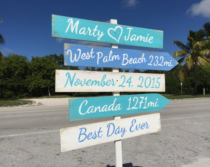Wedding Beach Sign. Nautical Wedding Decor. Gift for couple. Best Day Ever Wooden Signage for wedding ceremony, Yard decoration sign