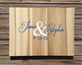 Newlywed  Gift Wedding Guest book Wood Sign, Rustic Guestbook With Decorative Pen