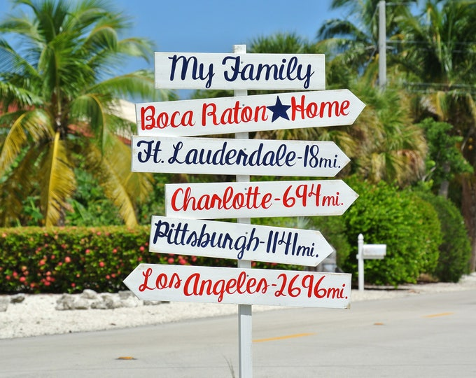 Christmas gift for dad, Arrow Destination Sign, Rustic Directional Mileage Sign, Home Decor, Custom unique Family gift idea.