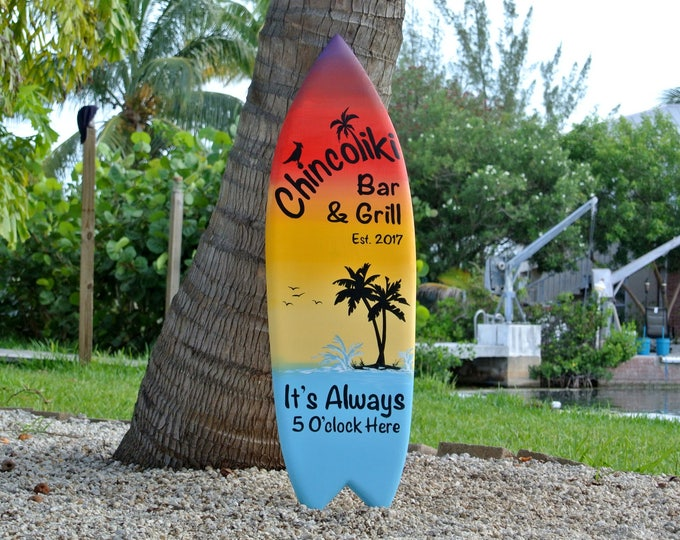 Tiki bar decor. Wood Family oasis sign surfboard. Housewarming gift for mom. Beach house decor Its 5 O'clock somewhere.