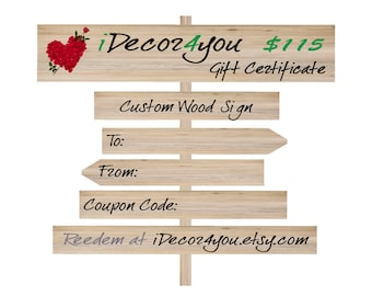 Gift card for iDecor4you shop  Holiday Gift Certificate for Custom Wood Sign, Printable Card for Her, Gifts for him, Last Minute Gift idea