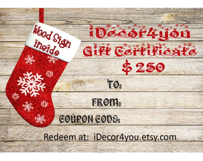 iDecor4you Last Minute Gift Certificate for Custom Wood Sign. Card for Her, Gifts for Co-Workers, Easy Christmas Cards Printable