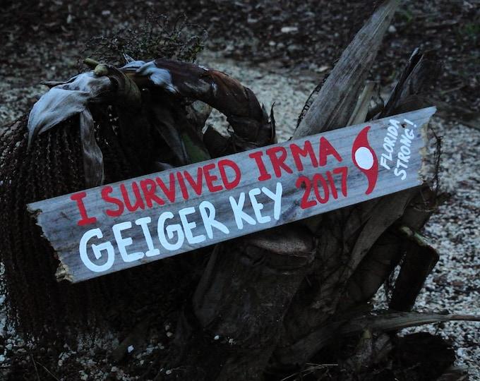 Hurricane IRMA I Survived Irma wood coastal sign Distressed Rustic Wood Sign Florida Strong