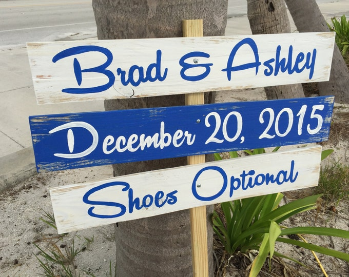 Holiday gift, Navy blue Beach Wedding Sign, Rustic Wedding Decor Wood Gift, Shoes Optional Directional Sign, Wood yard decor