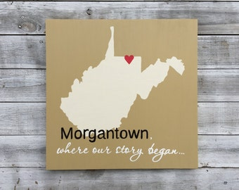 Mom gift Custom West Virginia state sign, Where our story began Wall Art
