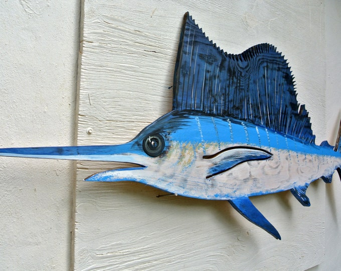 Sailfish Wooden decor. Marlin fish wall art. Fisherman's Gift. Tiki Bar Wall Decor. Beach house decoration sign.