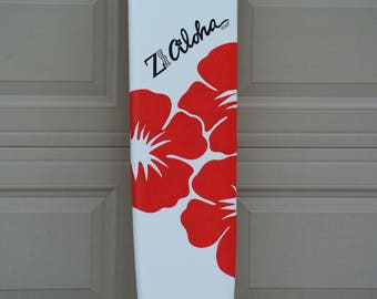 Aloha Sign In Surfboard wood sign. Hawaiian decor for Beach Wedding. Decor Surf board guest book, Wood yard decor