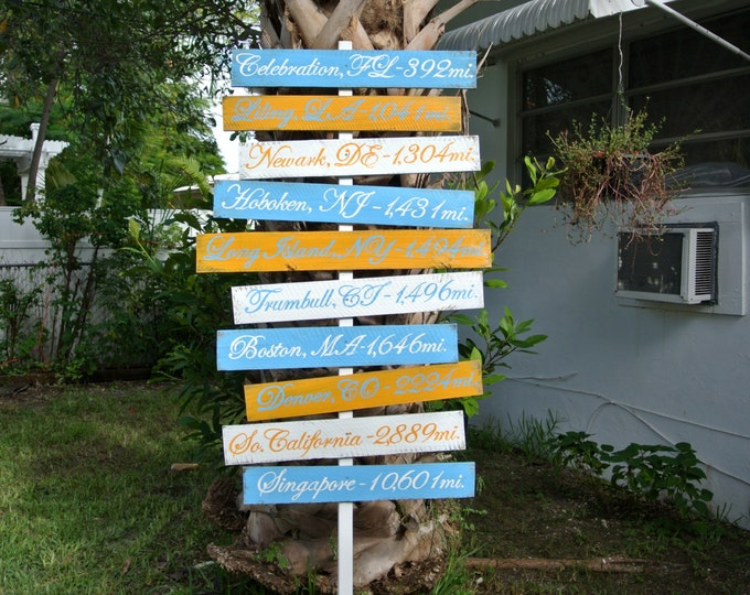 Wood Directional Sign Family House Decor, Destination Yard Sign, Garden Sign Post gift for parents