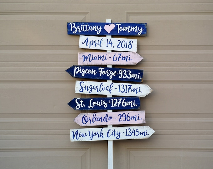 Nautical Beach Directional sign, Wood Arrow Signage for Wedding, Unique gift idea for couple, Destination Location Sign.