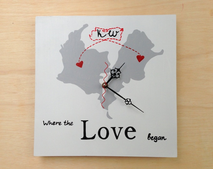 Where the Love began Wall Wooden Clock, Wood Wedding gift for couple, Map wedding sign, Destination wedding decor
