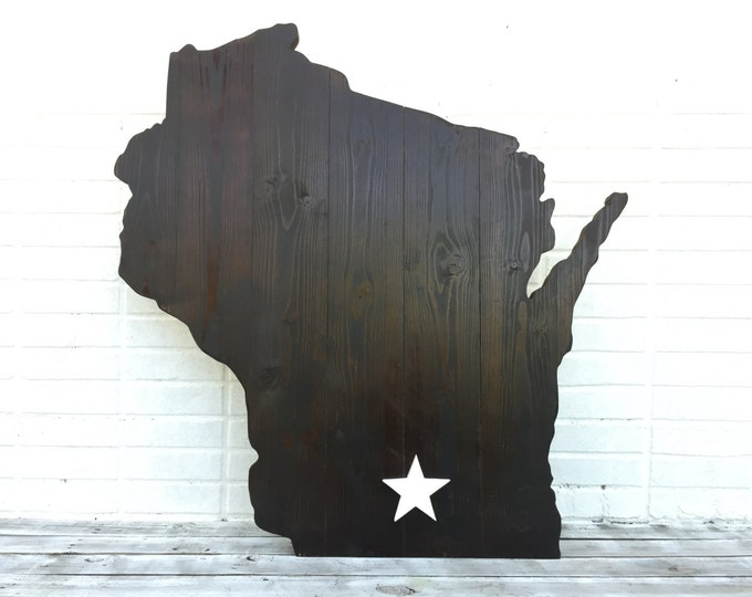 Family gift. Wisconsin Map Wall Decor. State Home Sign. Wood 3D Map. Housewarming Gift Idea. Yard decoration sign
