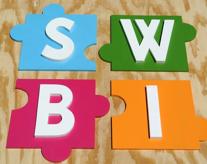 3D Letters Wood Business Sign, Name Wood Puzzle, Personalized Wooden Signage, Custom Name Sign