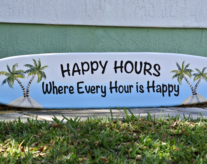 Bar sign for Home Bar. Pool deck decor for outside. Surfboard wall art.