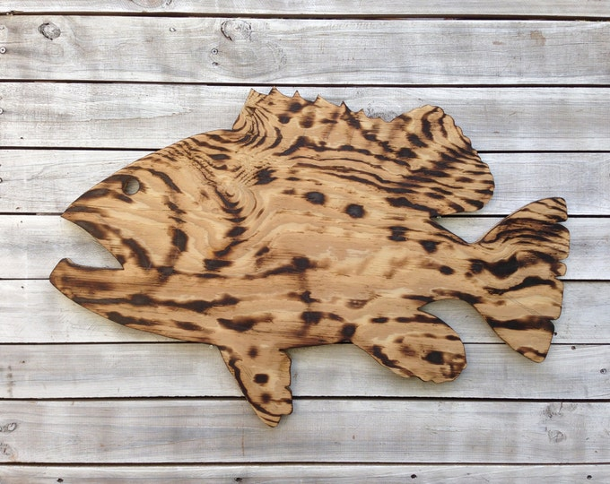 Large Wall Fish Decor Goliath Grouper Sign. Fisherman's Gift for Him. Man Cave Decor