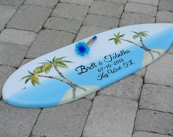 Wedding guest book alternative wood sign in board. Surfboard wedding decor. Coastal wedding decorations