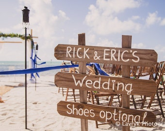 Beach Wedding sign wood with Names. Rustic wedding decor. Gift for couple