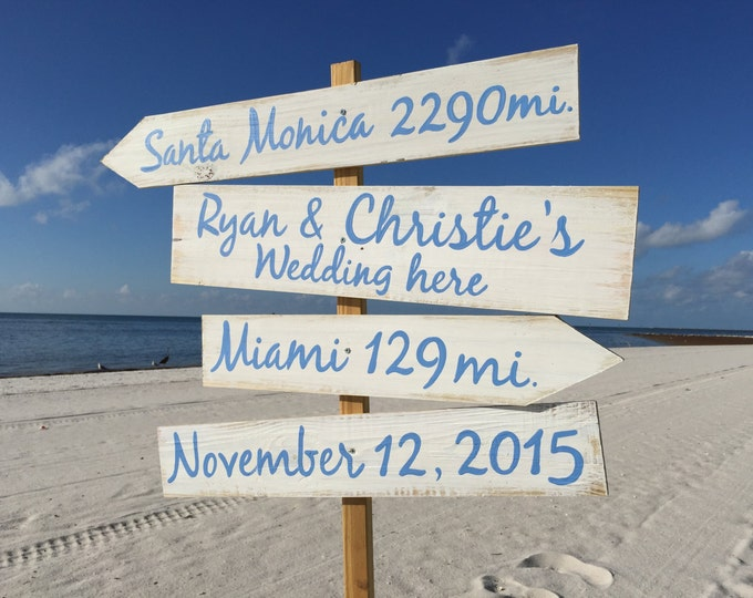 Christmas gift for family, Beach Direction Sign, Nauitcal Wedding Decor Wedding Gift Idea, Beach Wedding decor