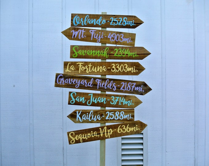 Directional sign Wood Family gift,Destination Mileage Signpost, Arrow yard sign