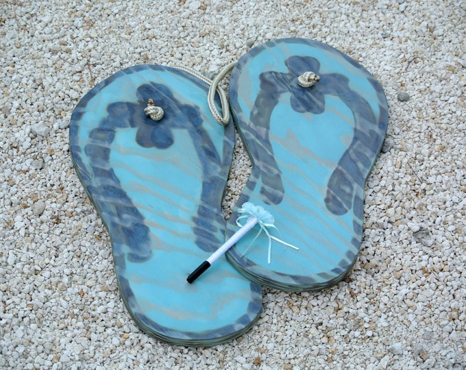 NEW Wedding guestbook idea. Wood Flip flops guest book alternative. Wedding gift for couple. Beach wedding decor and accessories.