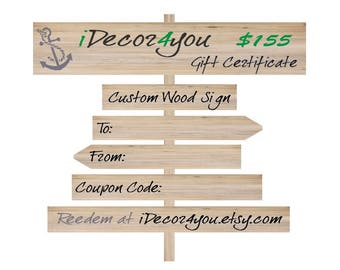 Gift card for iDecor4you shop  Custom Wood Sign Printable Gifts Card for Friends, Co-Workers, Easy Holiday Gift.