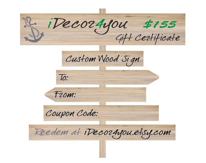 iDecor4you Custom Wood Sign Printable Gifts Card for Friends, Co-Workers, Easy Holiday Gift.
