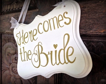 Ring Bearer Sign, Here Comes The Bride, Golden Wedding Decor