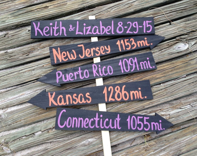 Personalized Wedding gift idea, Purple Orange Wedding Decorations, Rustic Arrow Mileage Sign, Beach Wedding Decor, Wedding Directional Sign