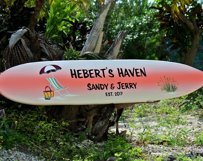 Gift for husband. Beach Lake house decor. Tiki bar wooden surfboard pool sign. Family name Wood surf board for new home. Wood yard decor