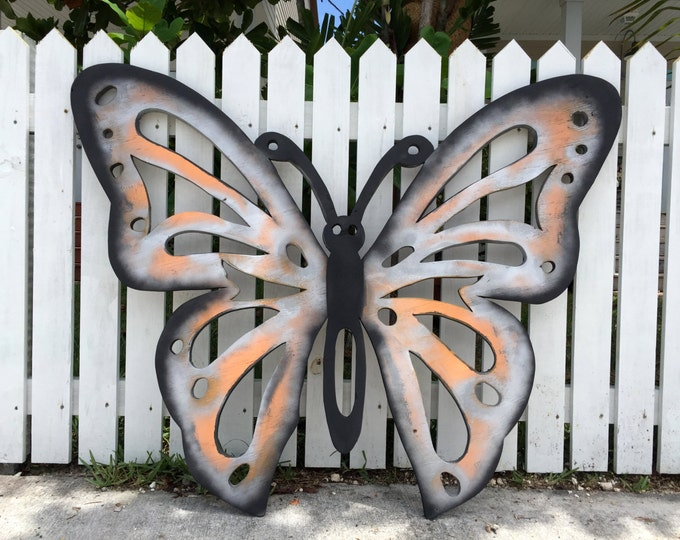 Big Butterfly Wooden Carving, Housewarming Gift, Large Wood Butterfly Wall Decor, Beach house wooden decorations.