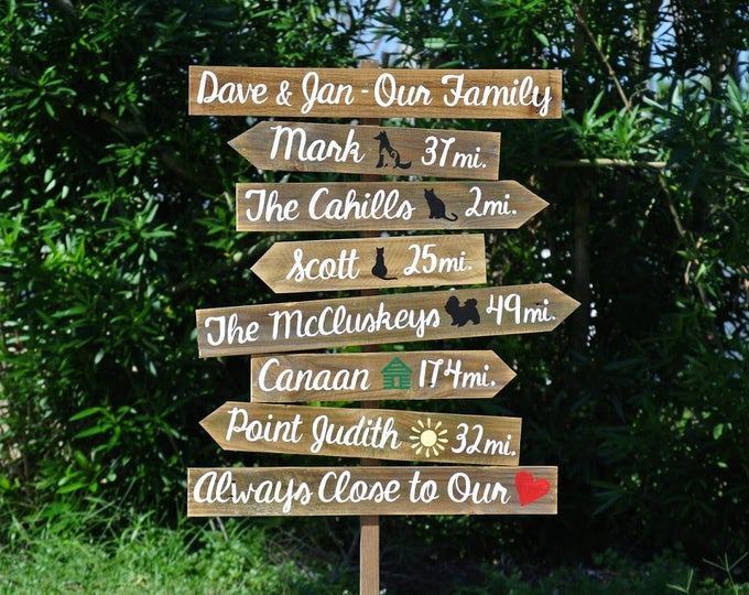 Our Family Rustic Directional Sign. Parents Chritsmas Gift. Garden Decor for New Home. Entryway sign.