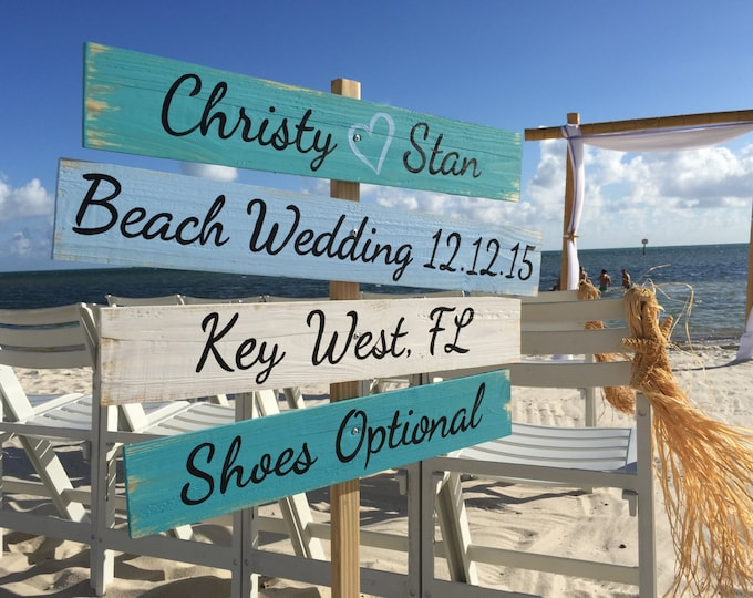 Gift idea, Wedding Nautical Sign, Rustic Wedding Decor Wood, Shoes Optional Directional Wedding Sign, Unique gift for couple