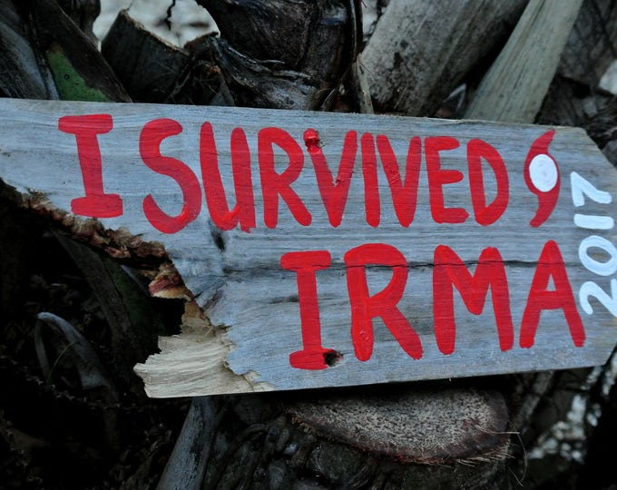 I survived IRMA 2017 Hurricane wood sign Florida Strong Distressed Rustic Wooden Signage