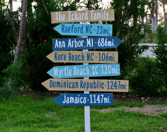 Family name sign Gift Idea. Directional Mileage Garden Decoration Sign, Rustic Wood Destination sign post