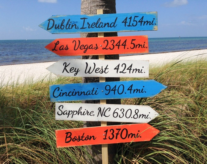 Garden Directional Wood Sign, Beach House Decor, Arrow Wooden Sign, Custom Family gift idea