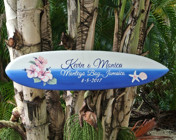 Beach Wedding Guest book Wood Hibiscus  Sign, Tropical Jamaica Wedding, Sea Star Surfboard Wedding Gift