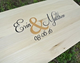 Newlywed  Gift Wedding Guest book Wood Sign with Pen. Guestbook Alternative. Wood Signature Cocktail Sign.