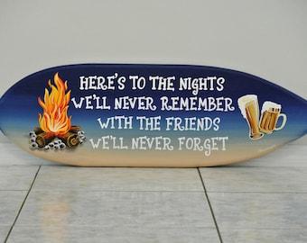 Fire pit decor. Surfboard wood sign wall art. Best friend gifts idea.