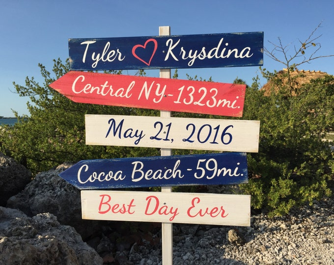 Nautical wedding sign Beach wedding decor Gift for couples directional sign wood