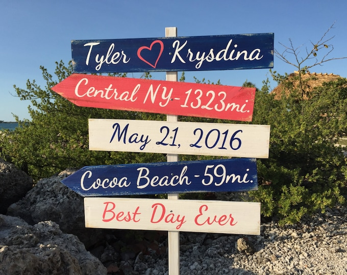 Christmas gift. Nautical wedding sign Beach wedding decor Gift for couples directional sign wood